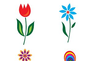 icons, flowers, set, vector