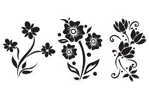 flowers, icon, set