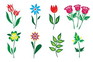 set of flowers, icons, vector