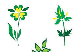 icons, set, plants, vector