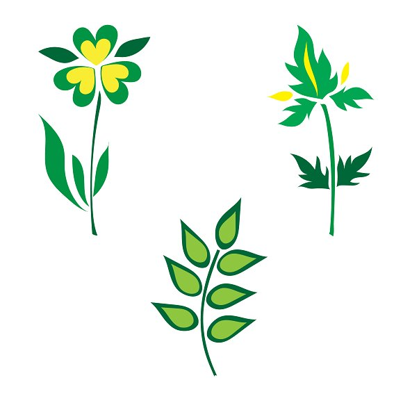 icons, set, plants, vector