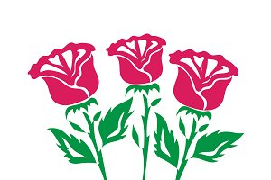red rose, icons, vector, set