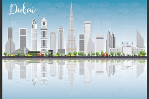 Dubai Skyline with Gray Buildings