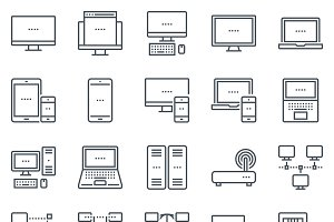 Technology and computers icon set