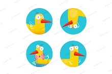 Kids Duck Funny Icons Set