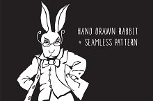 Hand drawn rabbit + pattern