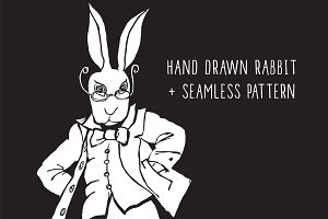 Hand drawn rabbit + pattern