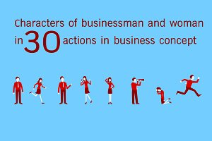 Businessman and woman in actions