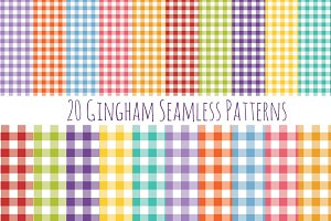 Seamless Gingham Pattern Set