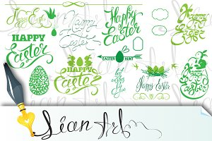 Happy Easter holiday calligraphy