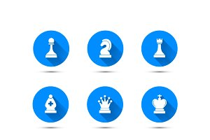 Chess icons with long shadow