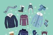 Set of Warm Winter Clothes Design