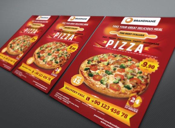 pizza flyer a4 flyer templates creative market