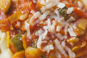 Ravioli with vegetable sauce