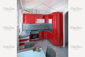 Curved kitchen in red color