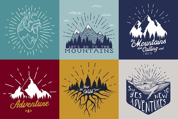 Travel illustrations with quotes
