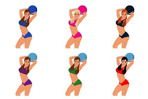 girl, woman, fitness, ball, vector