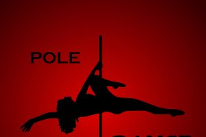 woman, pole dance, fitness, vector