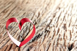 Red Ribbon Heart, red background