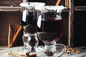 Mulled wine on the wooden table