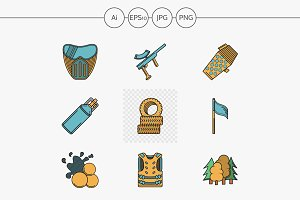 Paintball flat line color icons