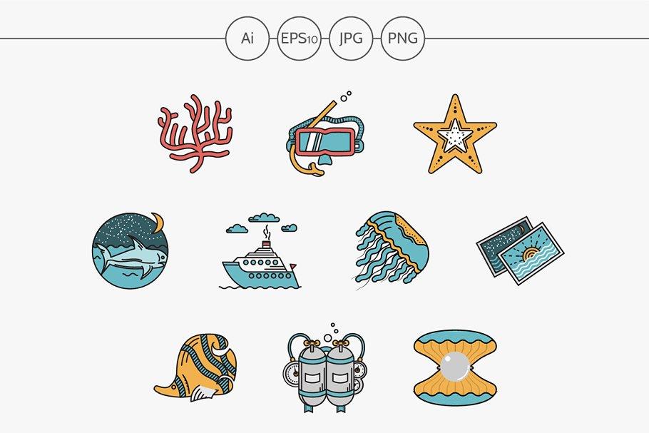 Sea leisure flat design vector icons