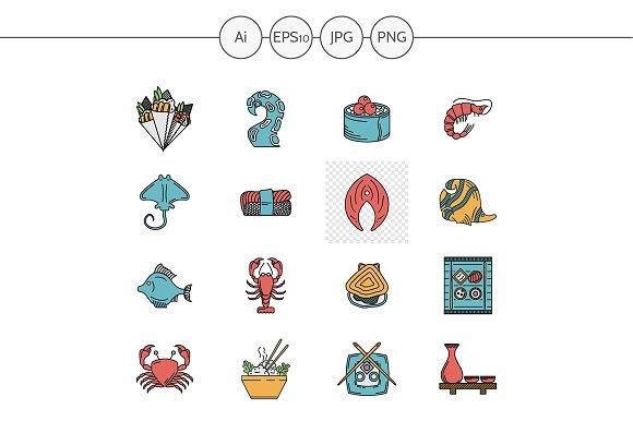 Seafood menu flat color vector icons