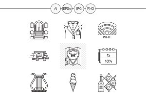 Restaurant service line icons. Set 1