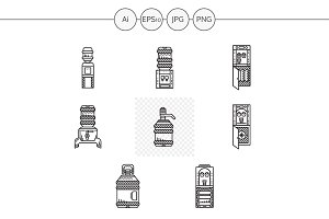 Water cooler black line vector icons