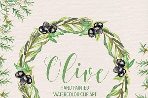 Watercolor olive