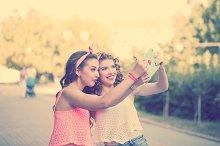 Best friends. Group selfies. Sunset.