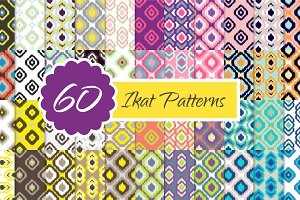 60 Ikat Seamless Vector Patterns