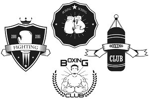 Set of vintage boxing emblems.vector