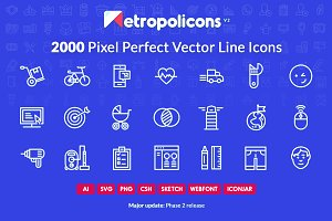 2000 Line Icons Set Metropolicons