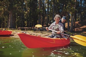 Mature woman learning to row