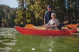 Senior woman in kayak