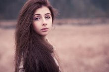 long-haired girl on the nature