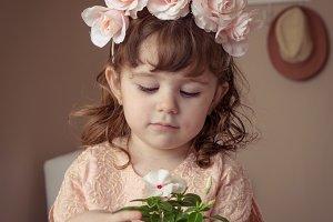 Boho little girl with flower crown
