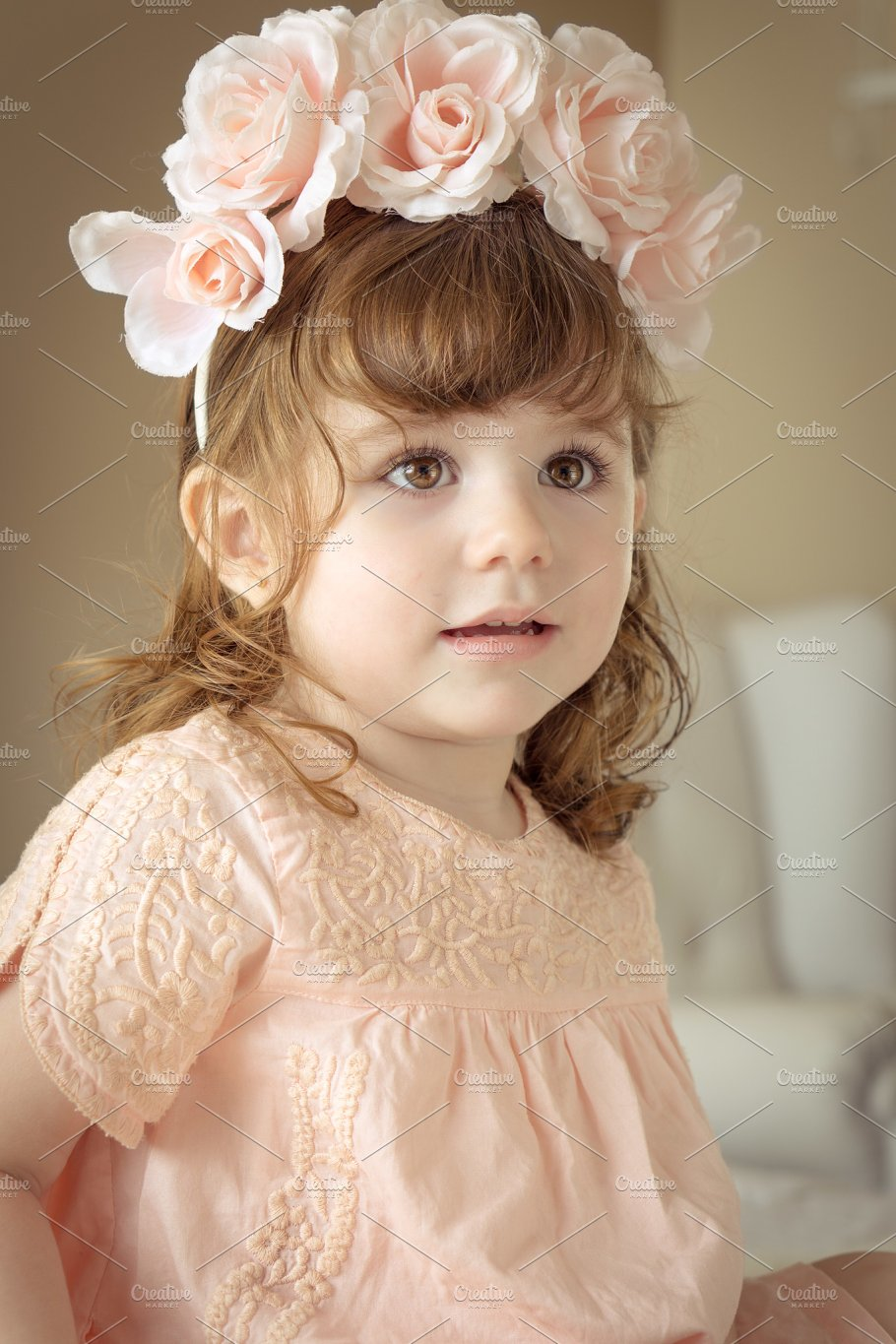 Boho Little Girl With Flower Crown Beauty Fashion Photos