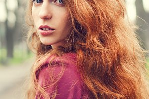 girl with red long hair