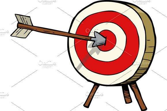 A target with an arrow in the center