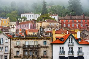 View of houses in the town of Sintra
