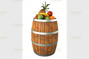 Fruits in a wooden barrel