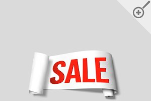 White sale signs, paper banners