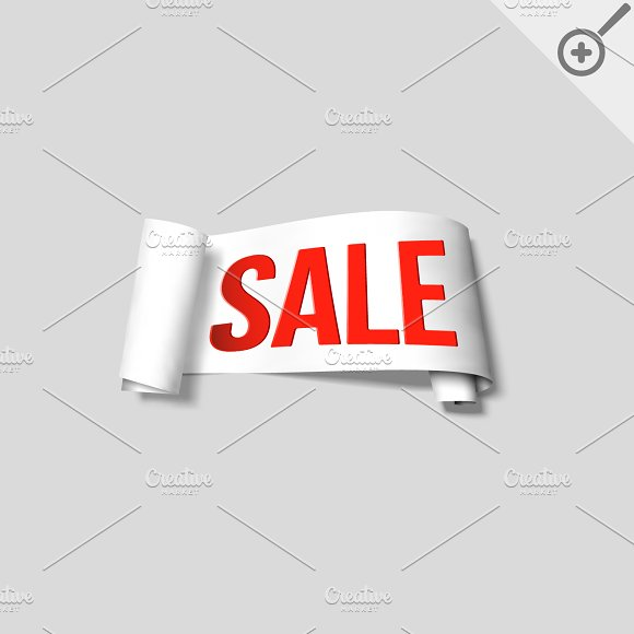 White sale signs, paper banners in Illustrations