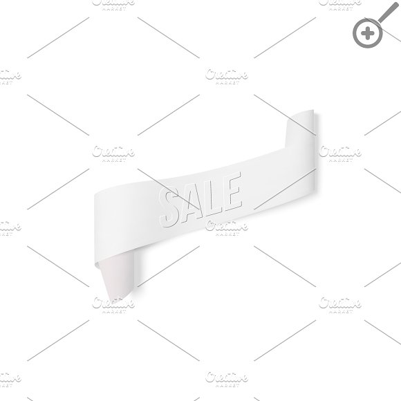White sale signs, paper banners in Illustrations - product preview 2