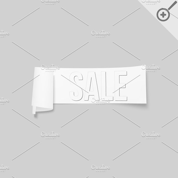 White sale signs, paper banners in Illustrations - product preview 4