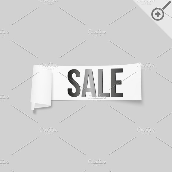 White sale signs, paper banners in Illustrations - product preview 5