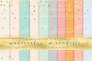 watercolor gold confetti paper pack