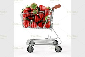 Strawberries in a shopping cart
